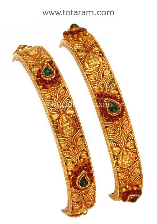 22K Fine Gold 'Lakshmi' Bangles - Set of 2 (1 Pair) (Temple Jewellery)