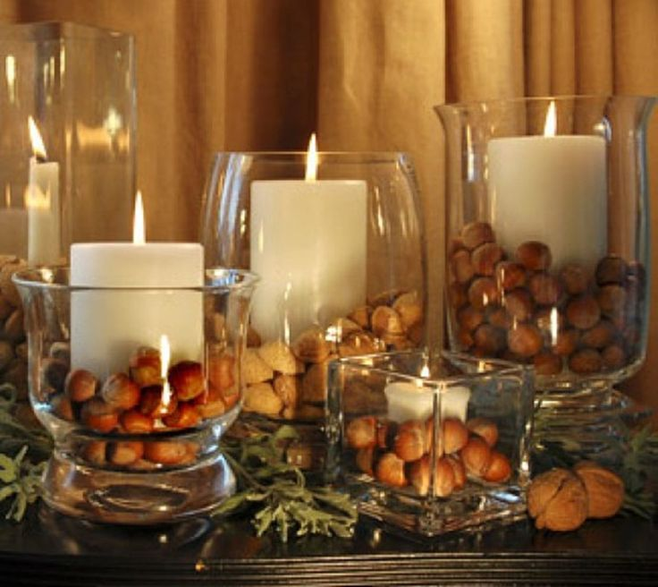 Heres An Easy Decorating Idea To Use As Your Centerpiece Or Give A Hostess Gift This Thanksgiving Place Pillar Candle Inside Glass Container