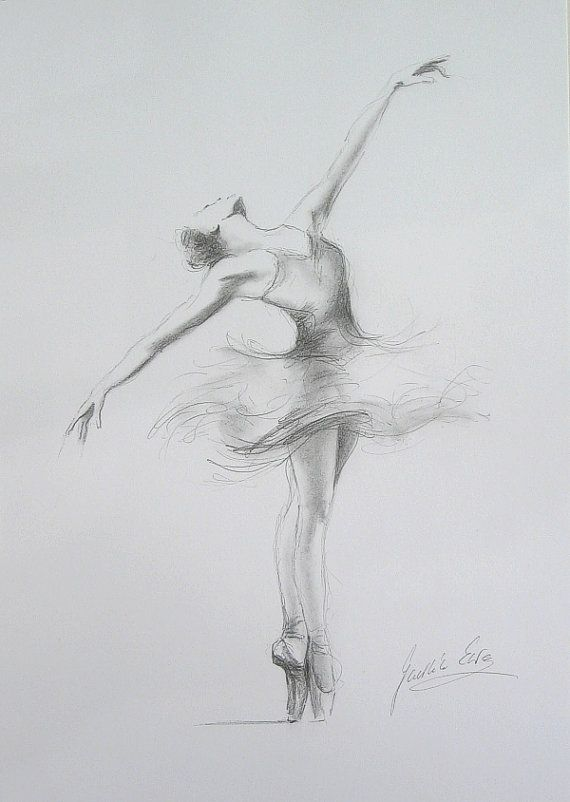 ORIGINAL pencil drawing 12 x 8 on WHITE paper of BALLERINA by Ewa Gawlik--strength for a little girl's room