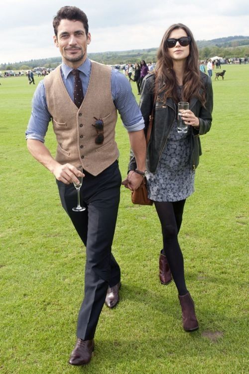 Tan wool waistcoat, Dark brown polka dot tie, White and blue Vertical  stripped shirt, Black Dress pants, Brown leather oxford shoes