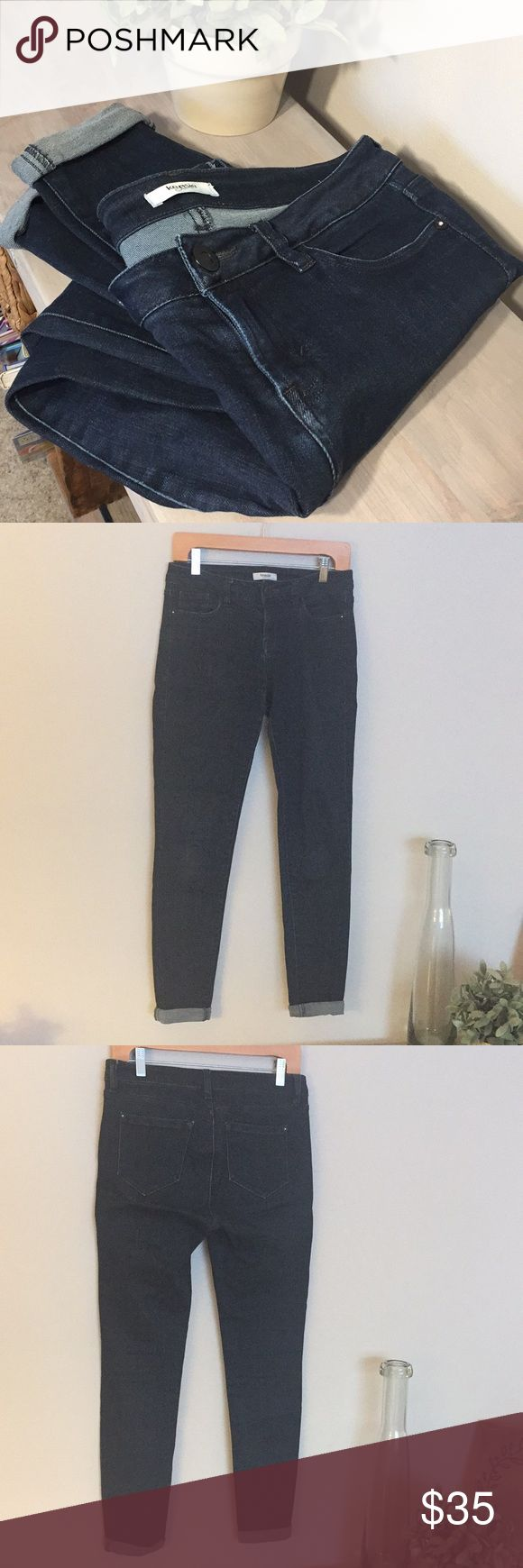 "Kensie Jeans dark wash skinny jeans Dark wash Kensie brand skinny jeans. Size 27. Mid- high rise. Rolled cuff but can be unrolled for a longer length. Nice amount of stretch but holds their shape. 15.25"" across waist, 28"" inseam cuffed, 30"" uncuffed. Kensie Jeans Skinny"