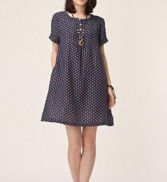 Dark blue linen dress maxi dress cotton dress linen tops casual loose dress linen blouse large size dress summer dress plus size dress