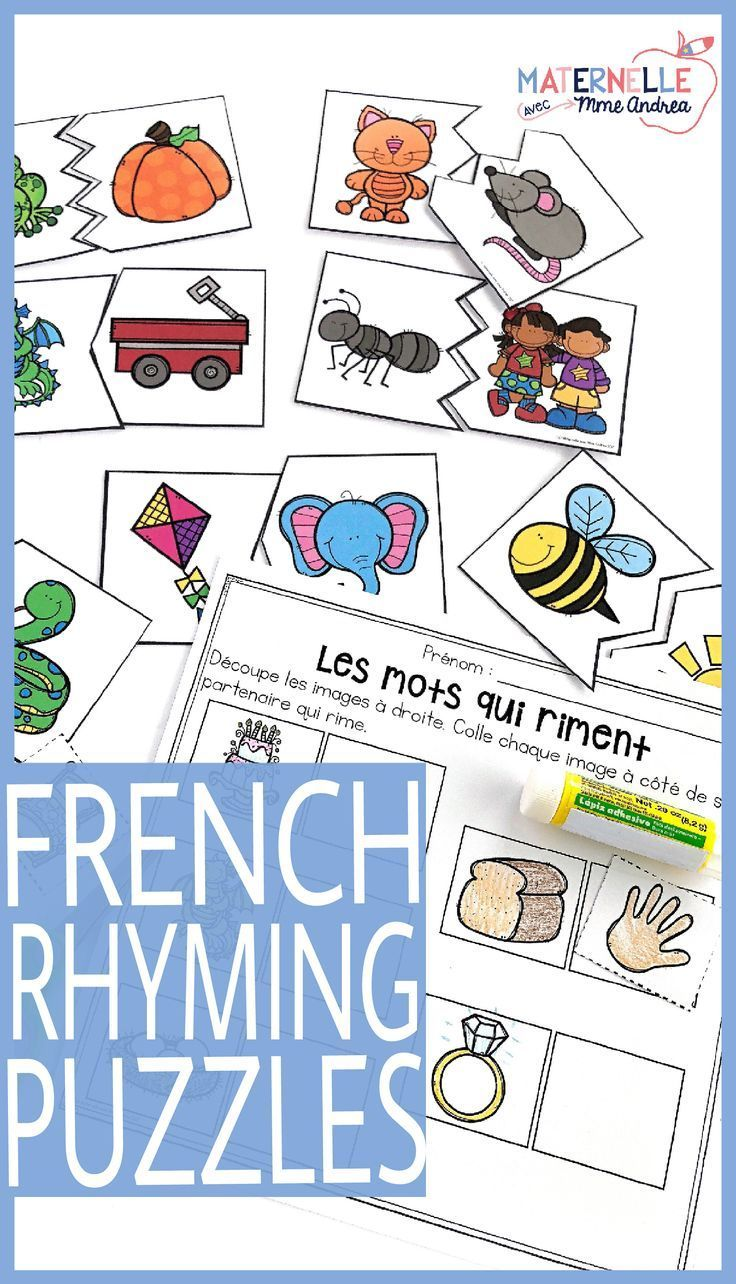 French Rhyming Puzzles Les Rimes En Casse Tete Rhyming