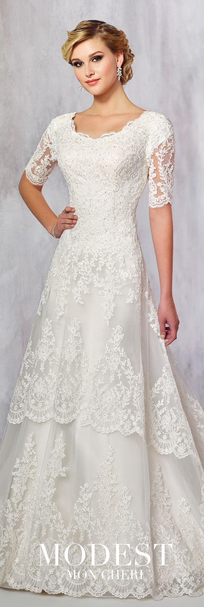Modest Wedding Dresses Fall 2017 Collection - Style TR21715 - short sleeve lace A-line wedding dress with two-tiered scalloped skirt