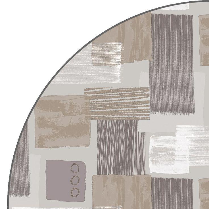 Rond Tafelzeil Flick Beige - Rond tafelzeil met vlakken en cirkels in beige en taupe. Het ronde plastic tafelkleed is afgewerkt met een nette biaisband. Gemakkelijk afwasbaar met een vochtige doek. 160cm doorsnee.