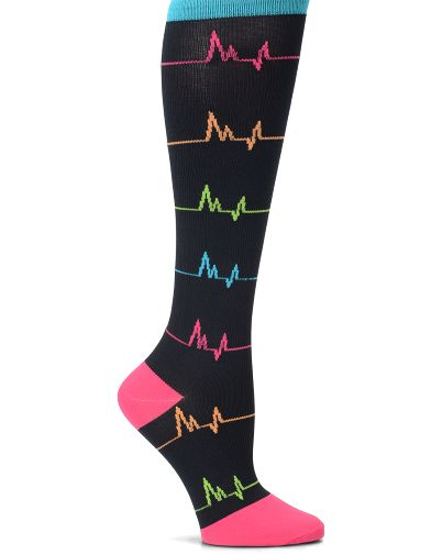 12 - 14 mmHg Graduated Compression with superior fit. Comfortable toe pocket, heel pocket and comfort welt top band. Helps to increase circulation and prevent swelling. Standard sock size 9-11 fits mo
