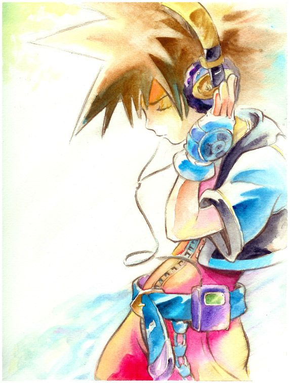 Cool artwork of Sora, I love the artistic style that it's painted in! :)