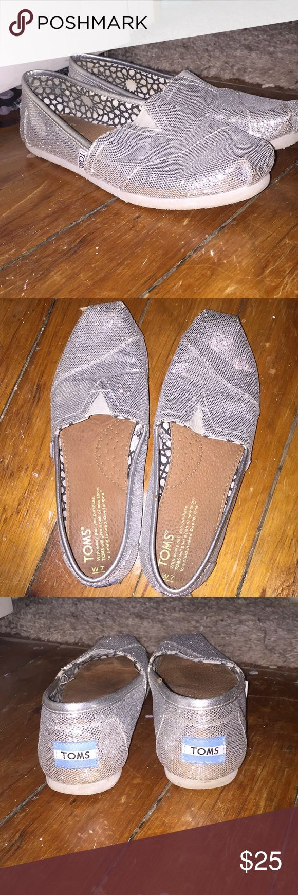 Silver Glitter Toms Silver glitter Toms. Slight worn, as depicted. Barely used Toms Shoes Flats & Loafers