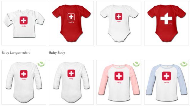 Babykleider mit Schweizerkreuz neu im Swity-Shop: www.swity.ch