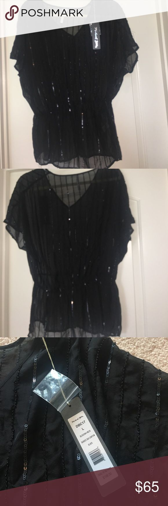 NWT Michael Stars blouson sequined top,style DBC17 New with tags! Black 100% silk sequined/beaded- striped top, dolman sleeves and elastic gathered waist.  Wear over a cami- perfect for dress up or dress down and would look so cute as a beach cover up.  Would keep but is just a little too big for me. Michael Stars Tops Blouses