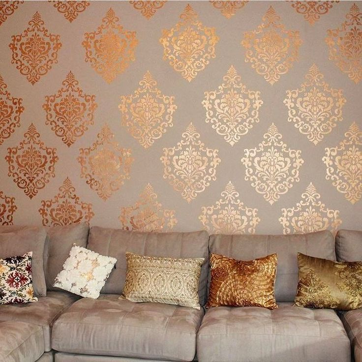 Stenciled Wall with the Metallic Paint Collection by Modern Masters | Project by Christina Adiutori