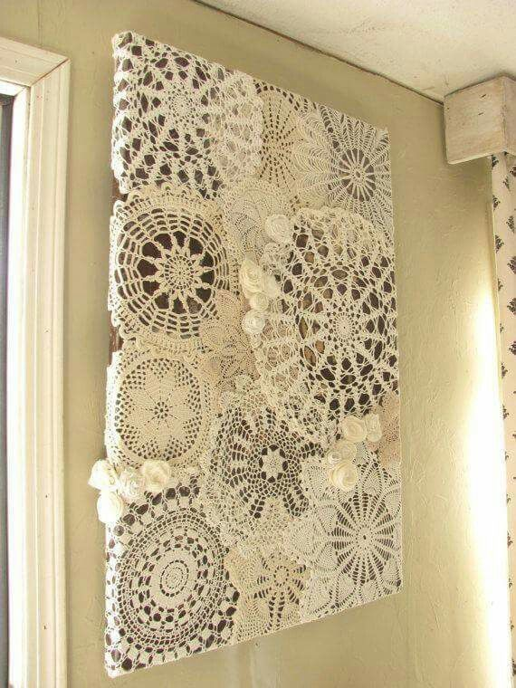 Doily on a board. Easy.