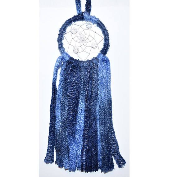 3 Inch Dark Blue Multicolour Wool Dream Catcher Clear Beaded