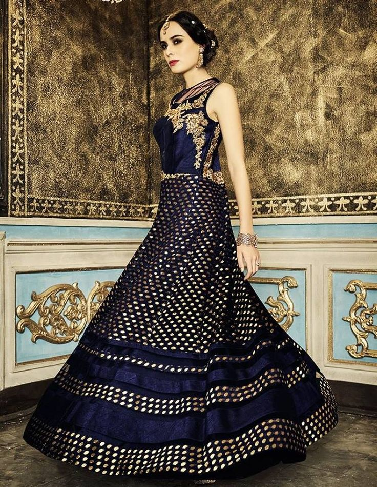 Stand out like a diva at your festive parties wearing this gorgeous anarkali! Buy anarkali suit online - http://www.aishwaryadesignstudio.com/remarkable-navy-blue-suit-with-gota