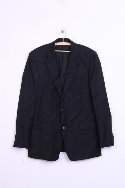 Hugo Boss Mens 106 L Blazer Jacket Top Suit Black Wool Vintage - RetrospectClothes