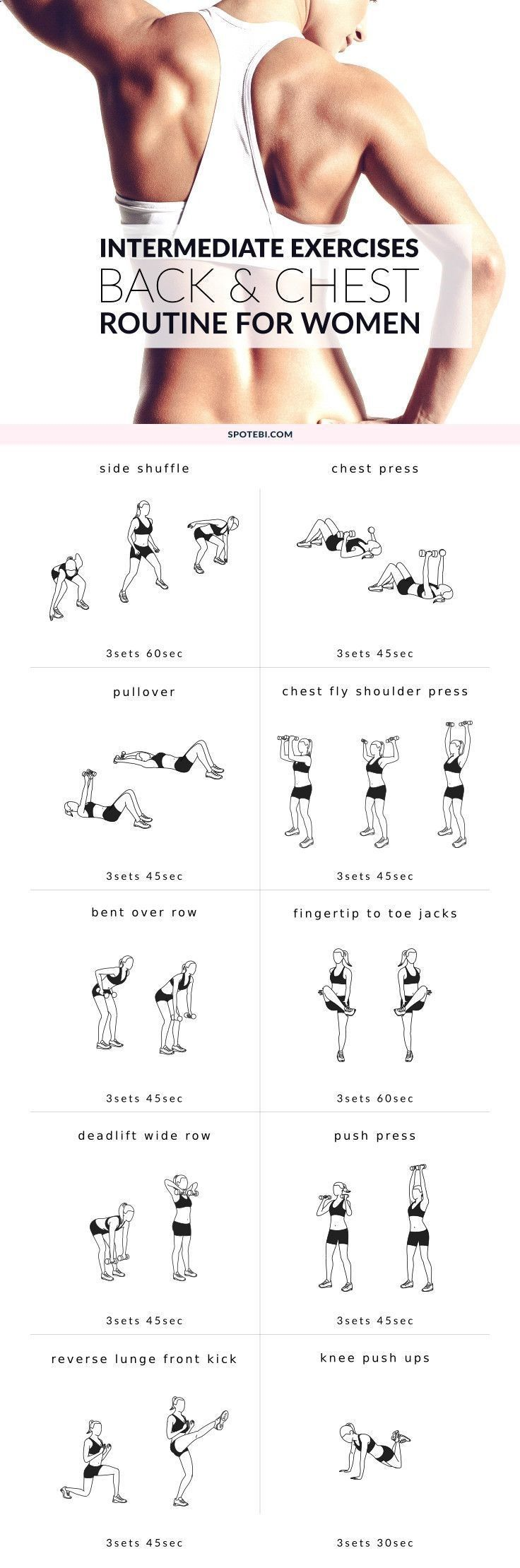 Improve your posture and increase your strength at home with this upper body intermediate workout. A back and chest routine for women that will help you tone your muscles and perk up your breasts!