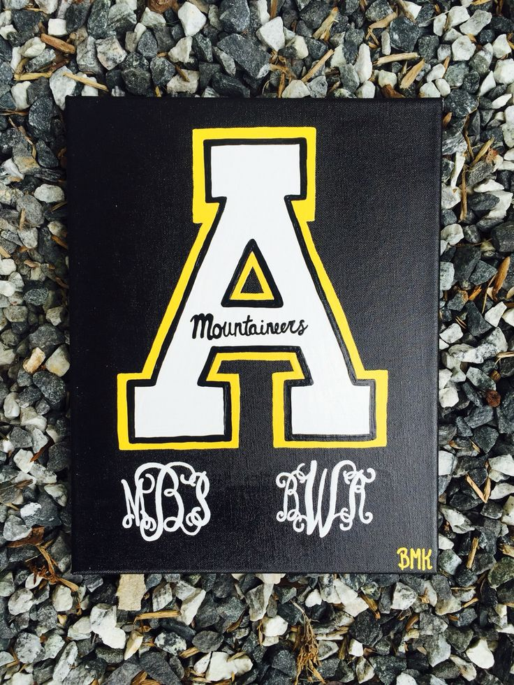 Custom canvas ordered by B & M! Appalachian State University ASU •• App state mountaineers theme college canvas for dorm room w/ monogram •• CFC BMK