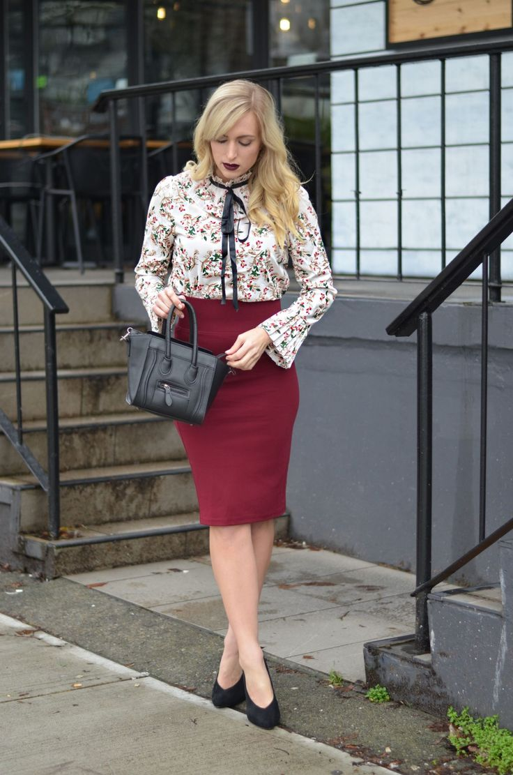 This floral blouse and burgundy pencil skirt are perfect office wear pieces! Go from board meetings to after work drinks! #bossbabe #fashionblogger #outfitoftheday