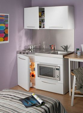 Tiny Kitchen - similar to what I see in Europe - this is what I want!  but with open shelving on both walls
