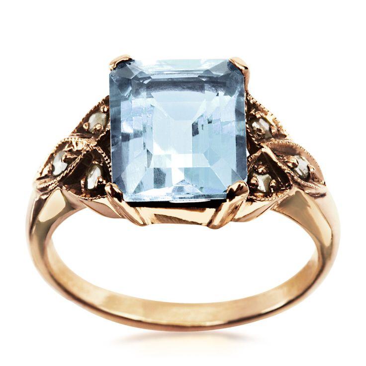 Kolekcja Wiktoriańska - pierścionek z diamentami i akwamarynem