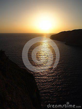 Beautiful sundown in Zakhyntos, in Greece
