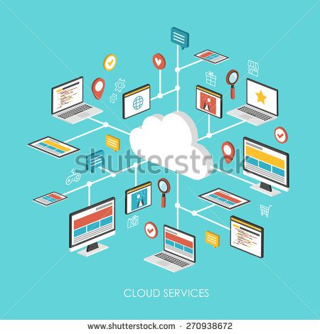 cloud services concept 3d isometric infographic over blue background - stock vector