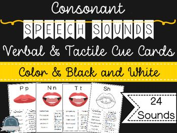 On at an introductory price of $4.00 for first 24 hours! (regular price will be $6.00).These cue cards are great for providing students with consistent verbal and tactile cues when they're learning new speech sounds!24 different speech sounds are represented in this pack, each with a visual image and some ideas for verbal and tactile cues you can provide.