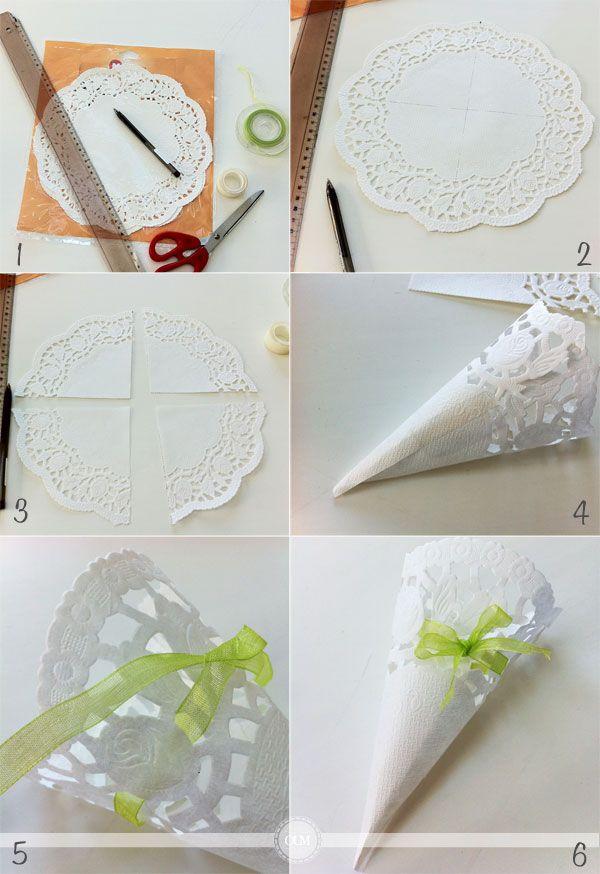 DIY : Jolis cornets en napperons pour votre lancer de pétales, de riz, de lavande...