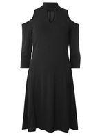 Womens **Tall Charcoal Soft Choker Dress- Grey