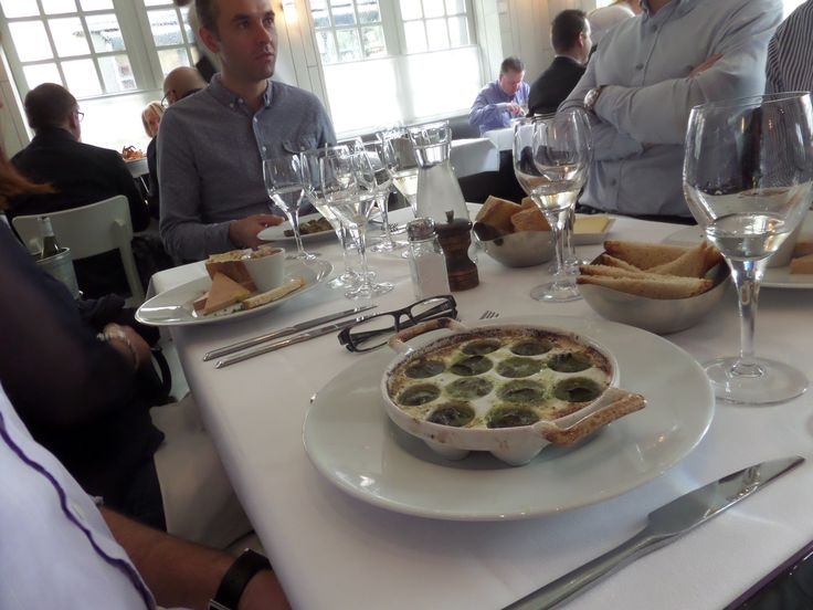 Peter had the classic French dish snails at L'écume Des Mers