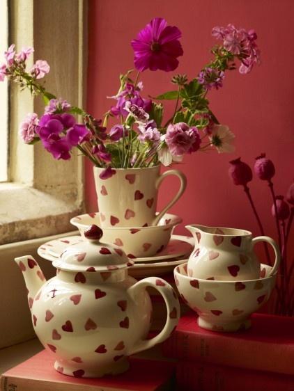 Emma Bridgewater pink hearts spongeware. Looks stunning against this colour