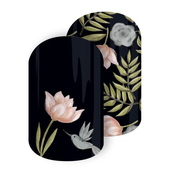January Sister's Style Exclusive-Happily Humming   Jamberry-You're sure to be 'Happily Humming' into the new year with this playful Sisters' Style design. Featuring whimsical florals and charming humming birds against a black background, this mixed mani is a must-have!