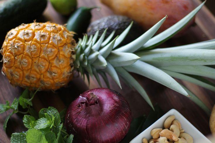 Pineapple Salad with a Kaffir Lime and Mango Vinaigrette