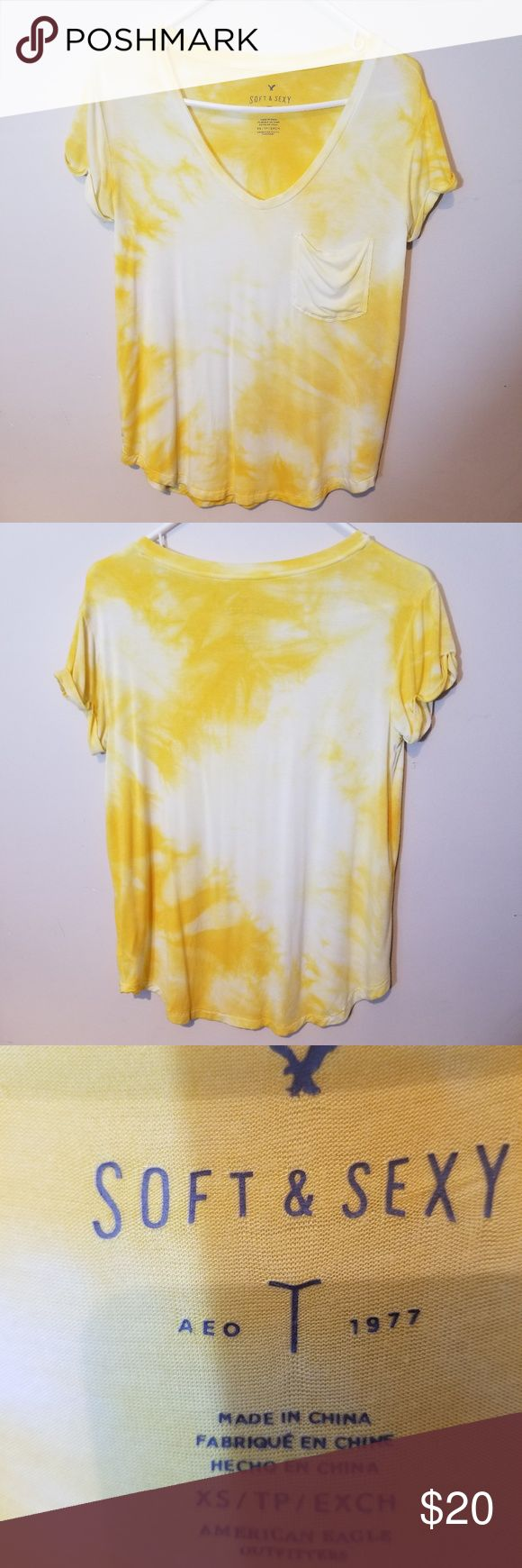 Soft & Sexy Vneck Tie Dye Yellow Top. Soft & Sexy Vneck Tie Dye Yellow Top. Size…