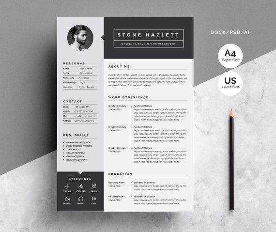 2 Pages Modern Resume Template Etsy Graphic Design Resume Resume Template Etsy Resume Template