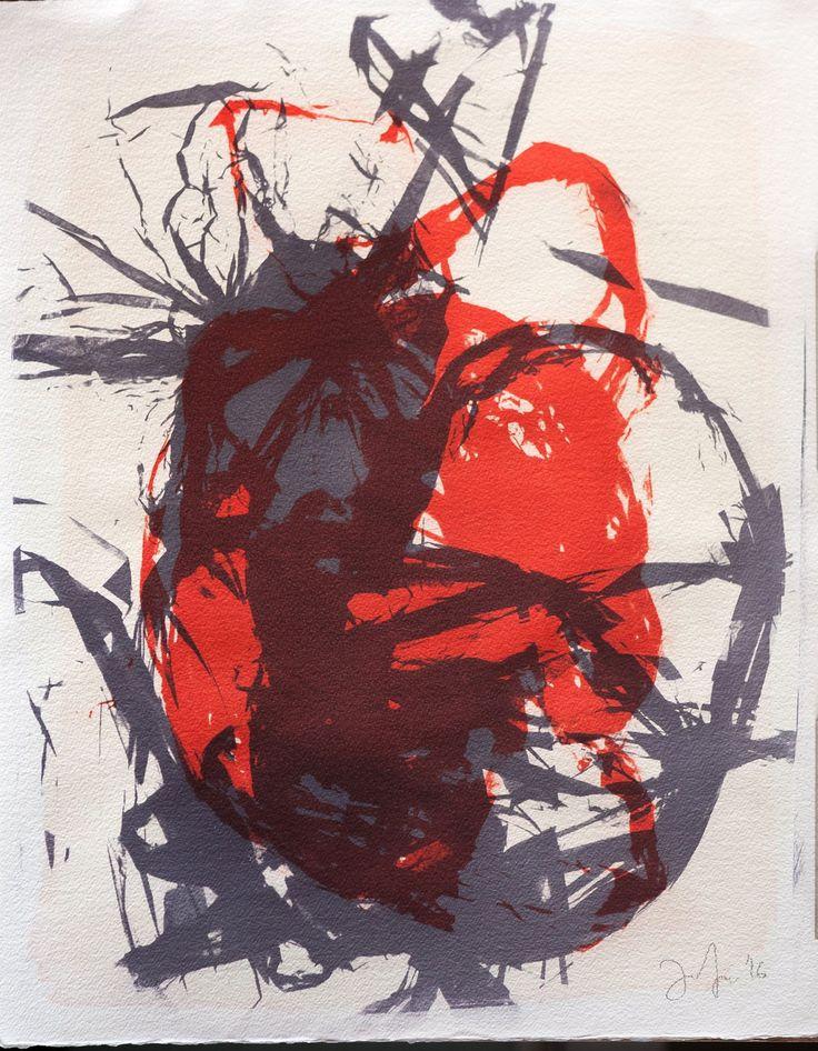 Anna Zimina. Photogram. Gum Bichromate print, (watercolor on Arches Aquarelle paper), 57x45 cm. 2016 #gumbichromate
