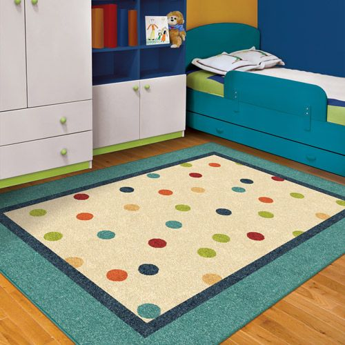Orian Polka Teal Fun Kids Area Rug Decor