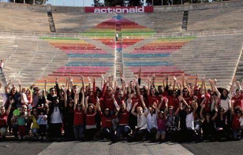 ActionAid: Ετών 15 Γιόρτασε με τη δημιουργία ενός χαρτογκράφιτι αλληλεγγύης στο Καλλιμάρμαρο