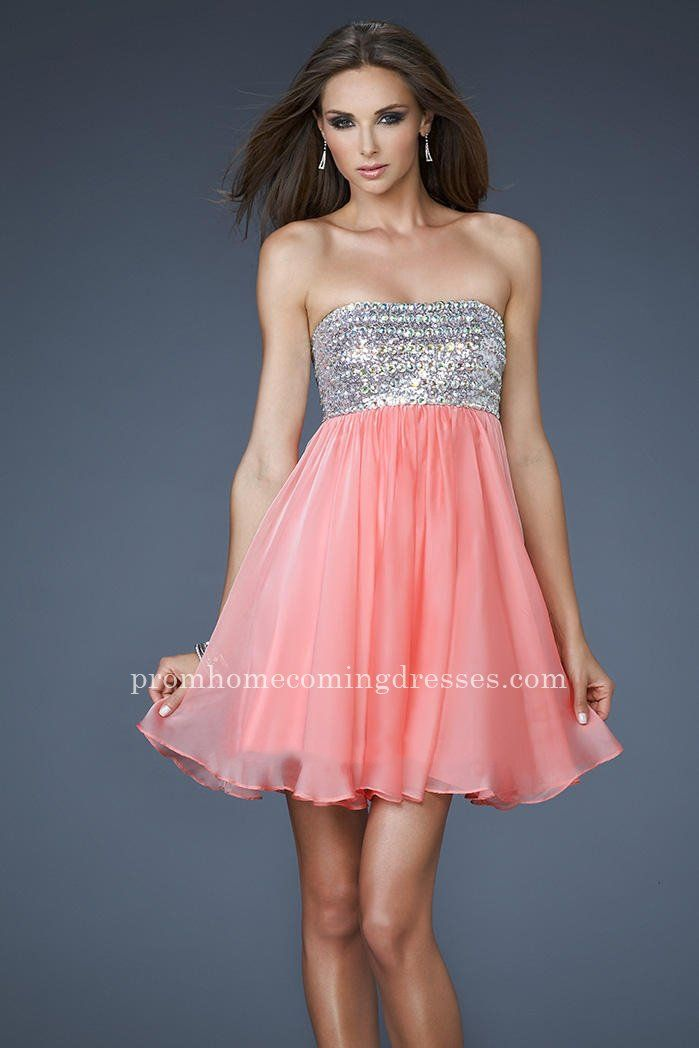 C Short Beaded Bust Homecoming Dresses By La Femme 18063 Online