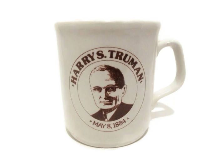 Vintage Harry S. Truman Coffee Cup/ Made in England/ President Coffee Cup/ Missouri Historical Mug/ Collectible/ Beige Brown/ Democrat/ Ober by KMVintageTreasures on Etsy