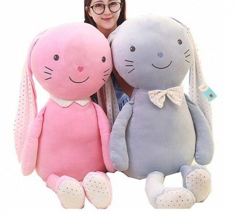 3D rabbit plush toys for girls oversize animal boyfriend pillows