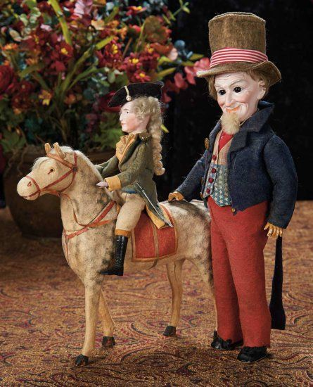 """German Bisque """"George Washingon on His Horse"""" Candy Container --Germany, circa 1890. Value Points: rare candy container made for the American market; the horse's head removes for access to the candy container interior."""