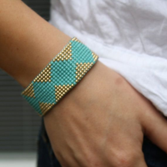Turquoise and Gold Woven Diamond Bracelet by ChristineC on Etsy, $59.00