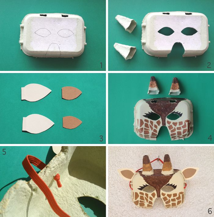 Egg carton giraffe mask