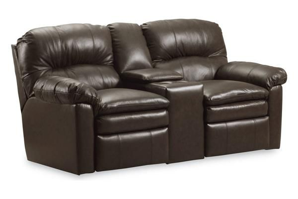 Touchdown Black Leather Double Reclining Console Loveseat