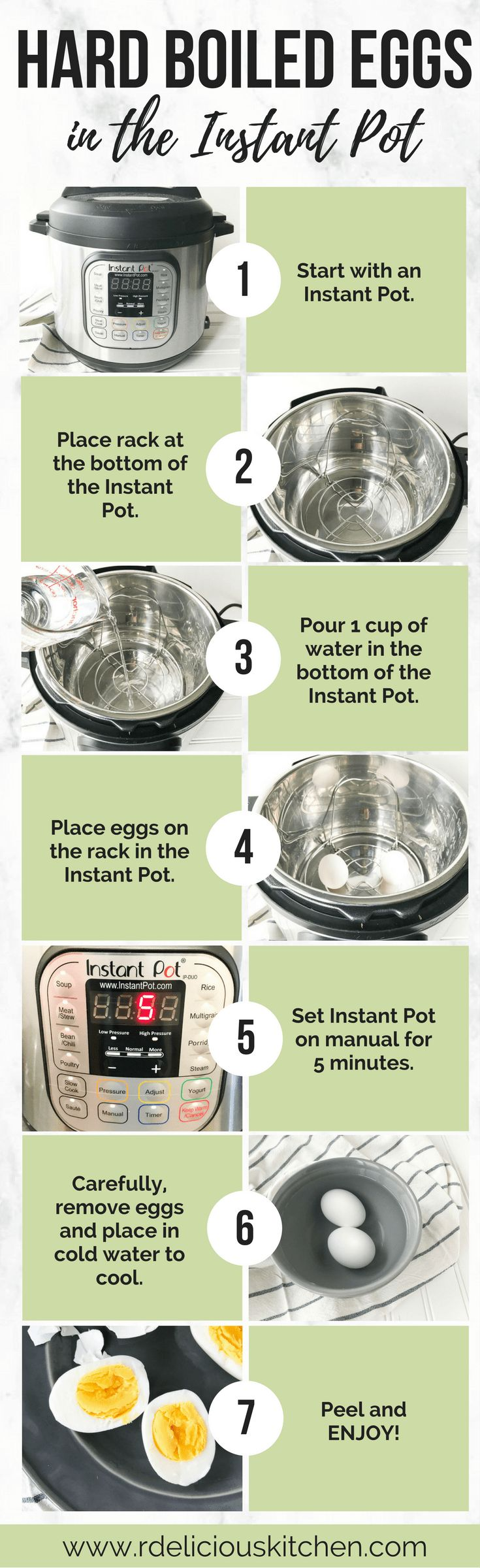 Perfect Hard Boiled Eggs (in the Instant Pot) #instantpot #protein #cookingtip #healthy #breakfast #snack #guide #howto
