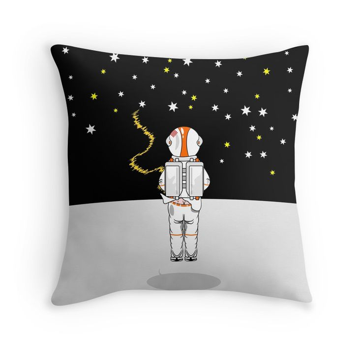 Astronaut Caught Short funny throw pillow for kids