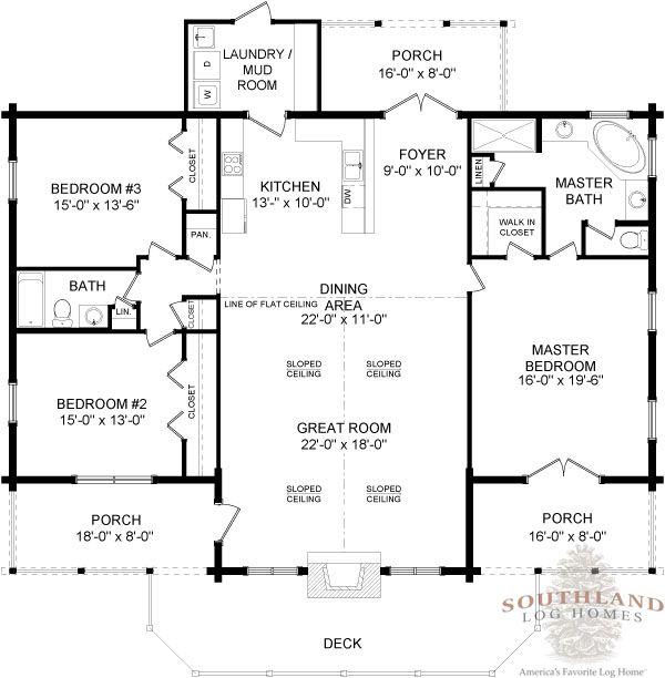 Adair First Floor - Southland Log Homes