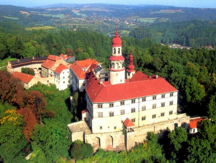 Náchod castle from birds view (East Bohemia), Czechia