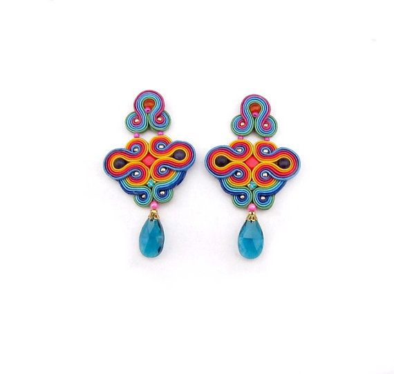 Expressive Oriental Colorful Clip-On Earrings, Oriental Soutache Earring, Hand Embroidered, Colorful Oriental Earrings, Expressive Jewelry